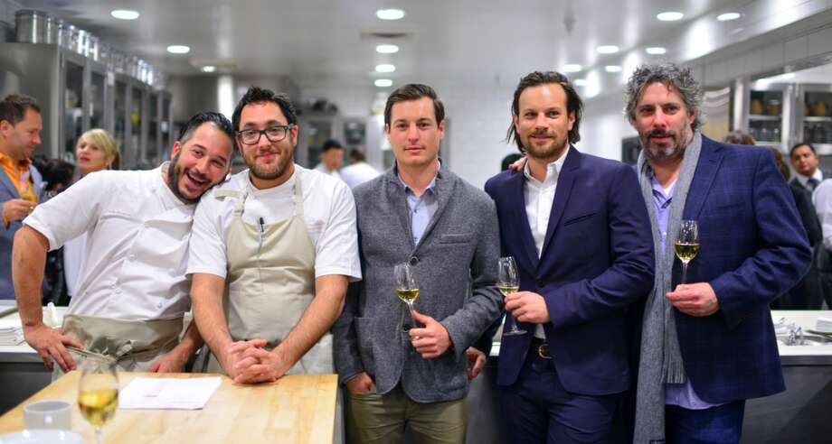 Carlo Mirarchi, Christopher Kostow, Adam Mariani (Scribe), Andrew Mariani (Scribe), and Richard Reddington.   Twelve Days of Christmas: Carlo Mirarchi  The Restaurant at Meadowood  Meadowood Napa Valley  St. Helena, California Photo: Bonjwing Lee Photography