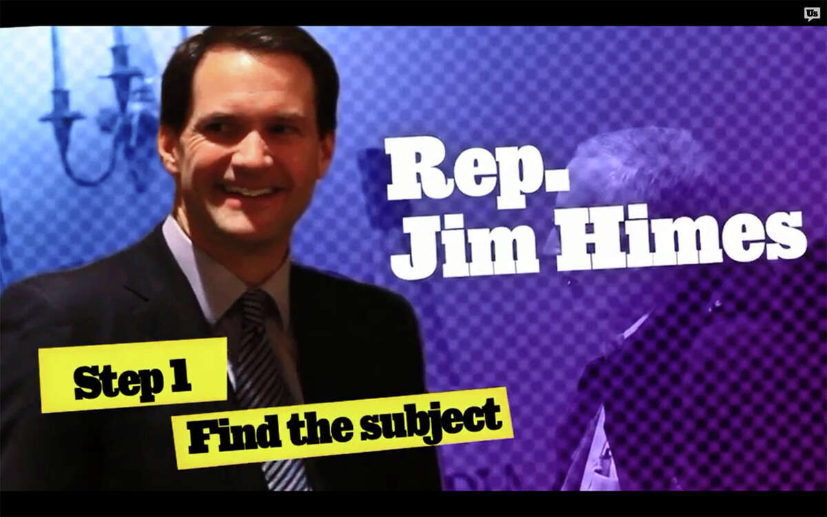 U.S. Rep Jim Himes was the recent target of a video sting by the anti-corruption group Represent.us. This is a screen grab of the video, which shows an activist crashing a Hartford event, thanking Himes for working on what was a bipartisan banking bill, then ìaccidentallyî dropping an attaché case full of phony money.
