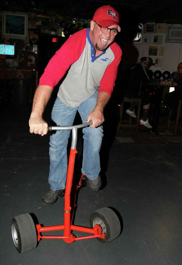Allen Dearborn is heck on wheels  inside Bootleggers. Photo: Photos By Xelina Flores-Chasnoff / For The Express-News / For the Express News