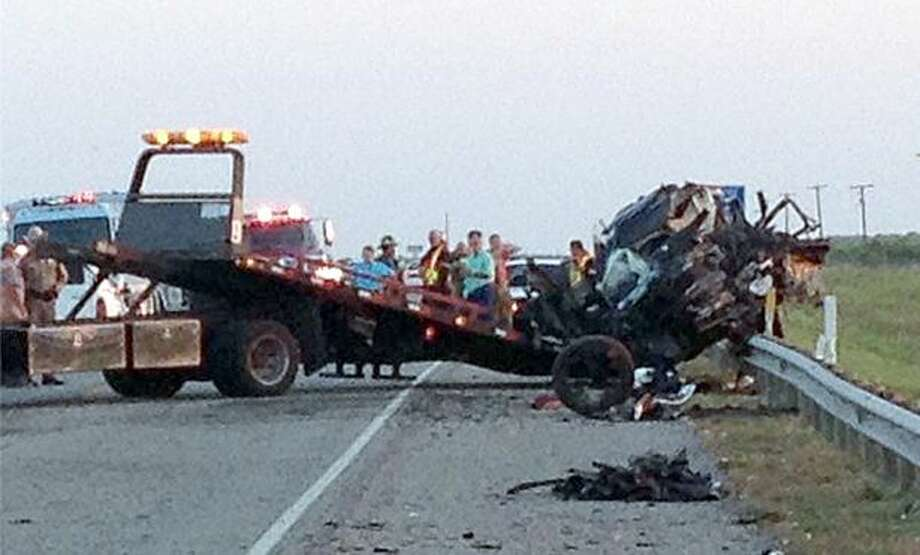 A two-vehicle wreck killed two Aug. 18 on Texas 35 in Refugio County, near the Aransas National Wildlife Refuge. (Photo courtesy of KAVU-TV)