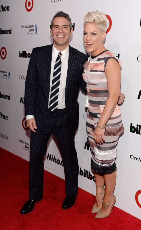 TV personality Andy Cohen and singer-songwriter P!nk attend Billboard's annual Women in Music event at Capitale on December 10, 2013 in New York City.  (Photo by Larry Busacca/Getty Images) Photo: Larry Busacca, Getty Images