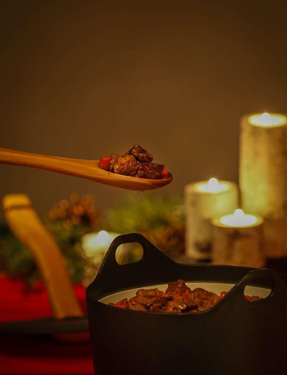Karelian stew in a sarpaneva cast iron pot is seen on Tuesday, Dec. 3, 2013 in San Francisco, Calif.