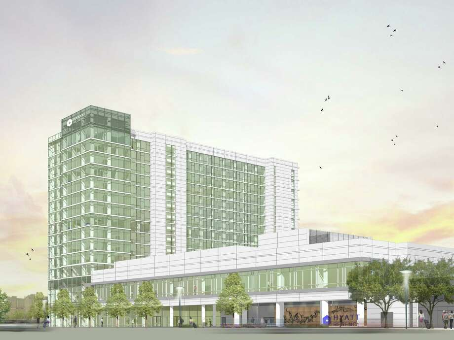 This is a rendering of the Hyatt Regency planned at Sage and West Alabama. Photo: Gensler
