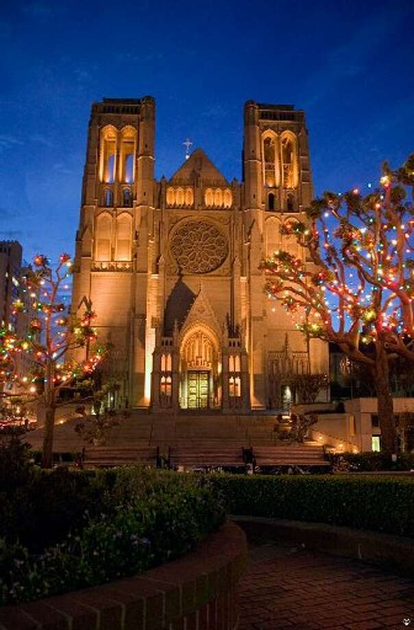 Grace Cathedral as seen through the lights of Huntington Park. Chronicle file photo