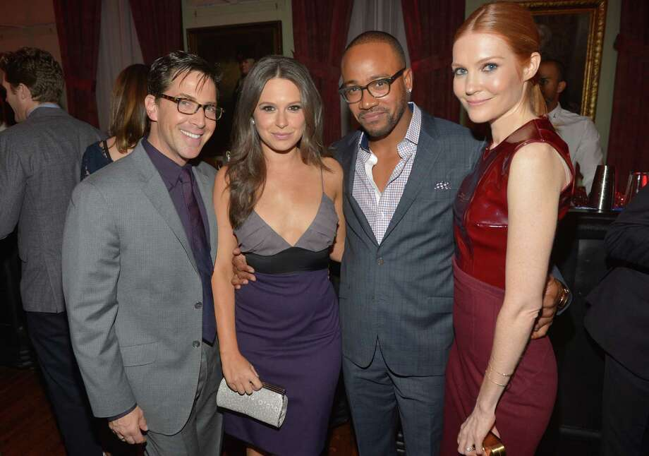 "Scandal stars (from left) Dan Bucatinsky, Katie Lowes, Columbus Short and Darby Stanchfield are pictured on Nov. 12, 2013 at the GQ ""Men of the Year"" party.  Photo: Michael Buckner, Getty Images / 2013 Getty Images"