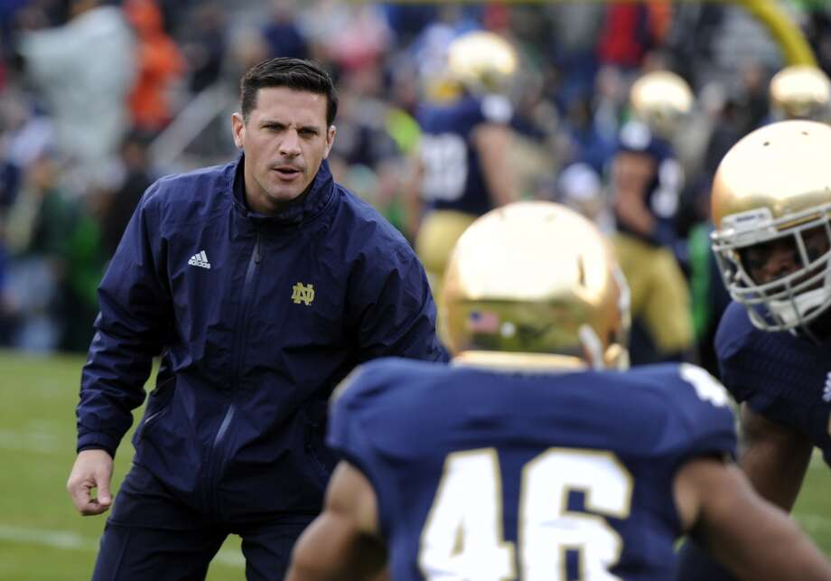 Notre Dame defensive coordinator Bob Diaco prior to a NCAA college football game between Notre Dame and Navy Saturday Nov. 2, 2013 in South Bend, Ind. (AP Photo/Joe Raymond)