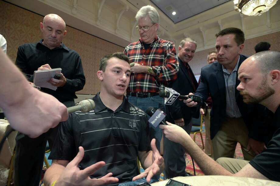 Texas A&M's Johnny Manziel addressed his NFL draft leanings Wednesday in Orlando. Photo: Phelan M. Ebenhack, FRE / FR121174 AP