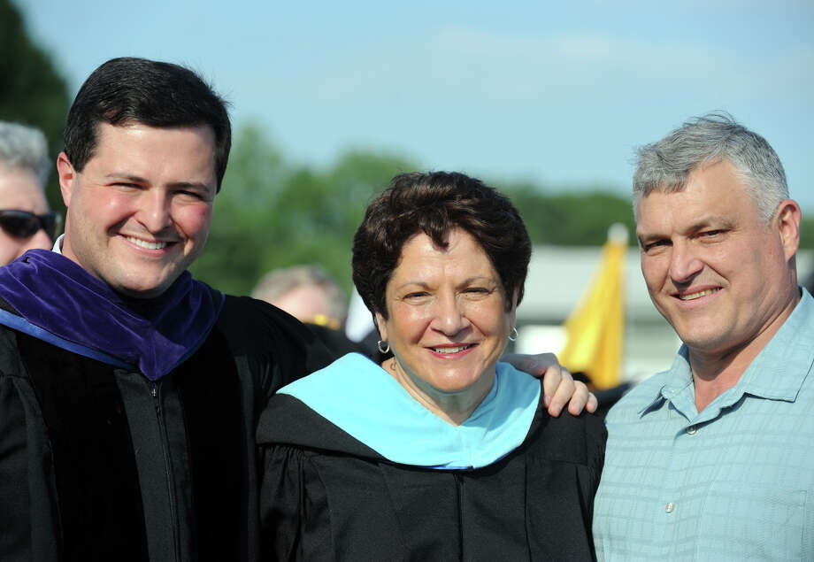 Trumbull First Selectman Timothy Herbst attends Commencement Exercises for the Trumbull High School Class of 2013, with his mother, Deborah Herbst, Vice-Chairman of the Board of Education, and father, Michael Herbst, Athletic Director at the high school, in Trumbull, Conn., June 20th, 2013. Mrs. Herbst has since been elected Chairman of the Board of Education. Photo: Ned Gerard / Connecticut Post