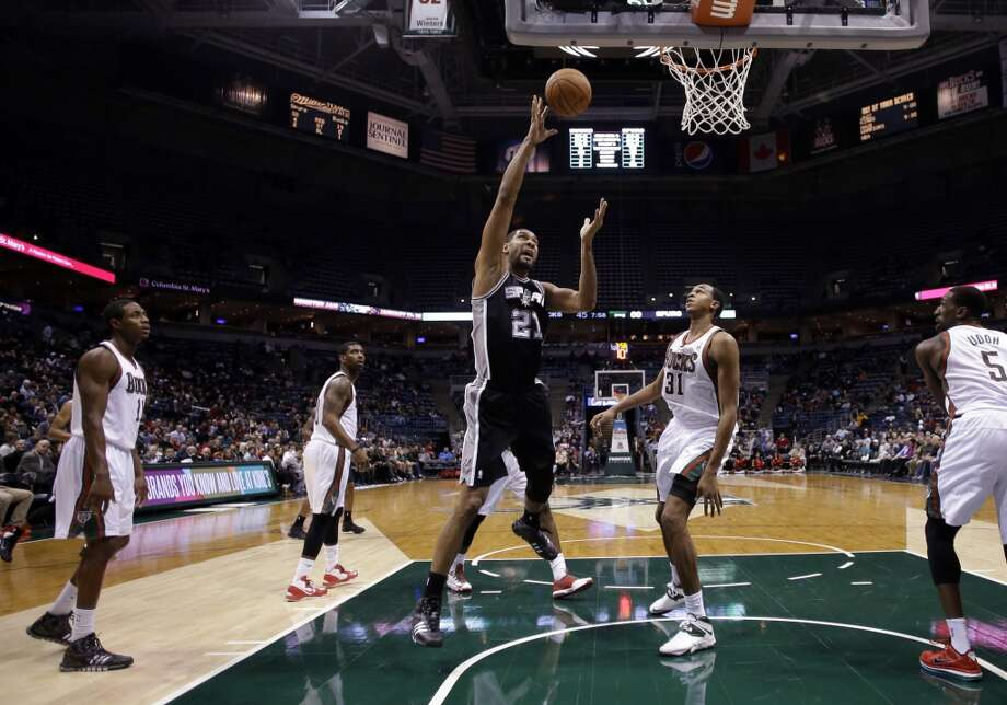San Antonio Spurs' Tim Duncan puts up a shot during the second half of an NBA basketball game against the Milwaukee Bucks Wednesday, Dec. 11, 2013, in Milwaukee. (AP Photo/Morry Gash) Photo: Associated Press