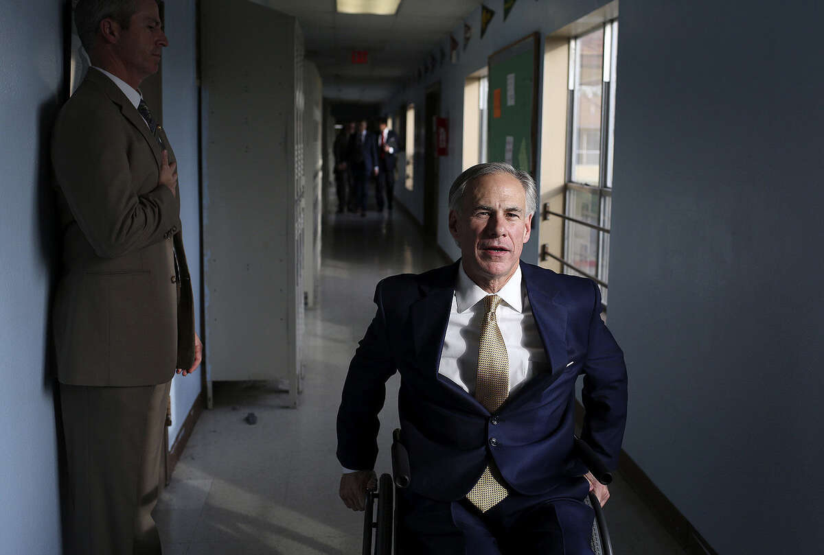 Attorney General and gubernatorial hopeful Greg Abbott visits the KIPP Camino Academy, where he talked with its educators.