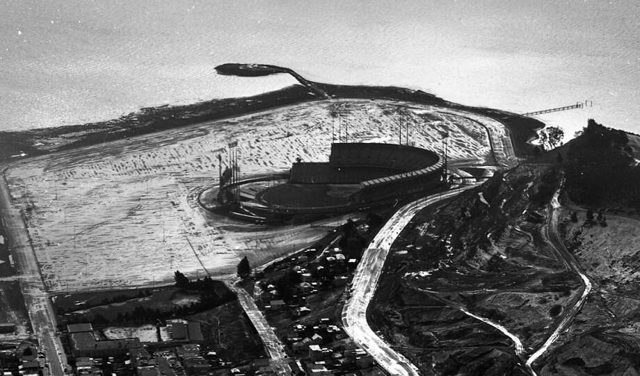 Jan. 21, 1962: The Meadowlands or Candlestick  Park? After snow fell on SF and the Peninsula, Chronicle photographer Gordon Peters climbed in airplane. Here's a side view of the 'Stick, which was still a baseball-only stadium. Photo: Gordon Peters, The Chronicle