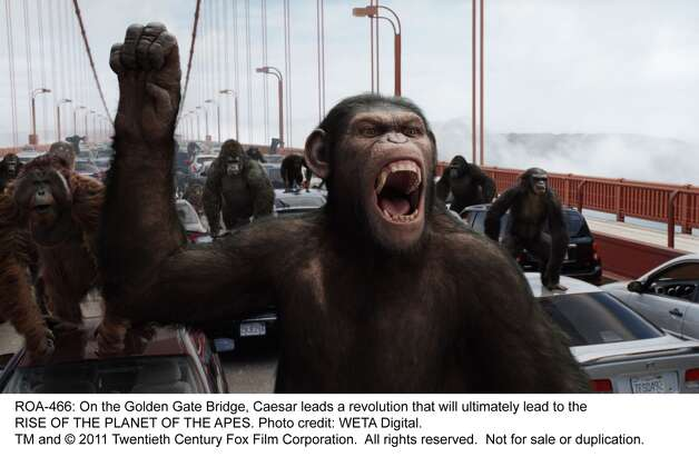 """""""Rise of the Planet of the Apes"""" posits perhaps the worst disaster scenario for any major city: being overrun by chimpanzees with high-level rational-thinking skills. Their ability to efficiently execute civic projects would be the final blow to mankind's morale. Photo: WETA Digital, 20th Century Fox"""