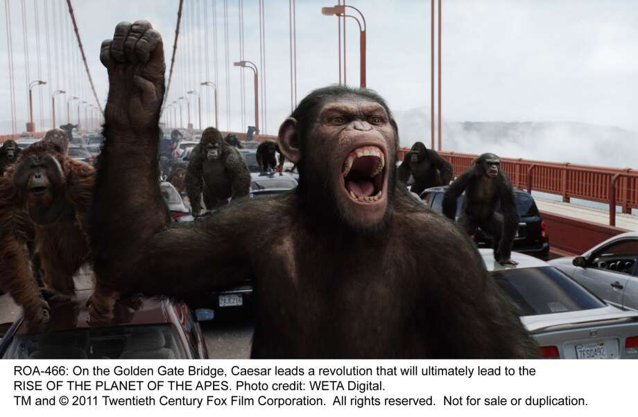 """Rise of the Planet of the Apes"" posits perhaps the worst disaster scenario for any major city: being overrun by chimpanzees with high-level rational-thinking skills. Their ability to efficiently execute civic projects would be the final blow to mankind's morale. Photo: WETA Digital, 20th Century Fox"