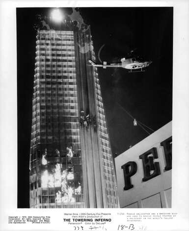 """The mother of all SF disaster movies, the """"Towering Inferno."""" It's also the best disaster film of the 70's because what other cast features both OJ Simpson and Fred Astaire? Photo: Michael Ochs Archives, Getty Images"""