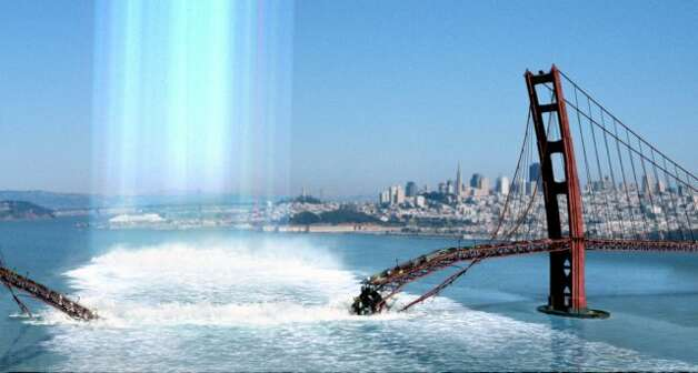 """Don't be fooled by this admittedly awesome special effect from """"The Core."""" It's a 135-minute disaster film. If you can't wrap up your destruction of San Francisco in under two hours, you should leave it to the professionals. Like Megashark. Photo: HANDOUT, SFC"""