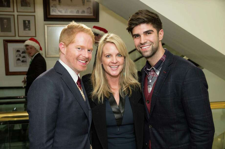 Jesse Tyler Ferguson and husband Justin Mikita with Hilary Newsom Callan at Brooks Brothers' Holiday Celebration on December 10, 2013. Photo: Drew Altizer Photography/SFWIRE, Drew Altizer Photography / ©2013 by Drew Altizer, all rights reserved