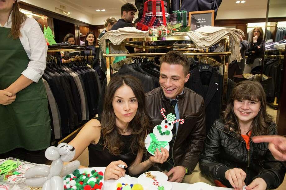 Abigail Spencer, Colton Haynes and Audra Koelewyn get goofy at Brooks Brothers' Holiday Celebration on December 10, 2013. Photo: Drew Altizer Photography/SFWIRE, Drew Altizer Photography / ©2013 by Drew Altizer, all rights reserved
