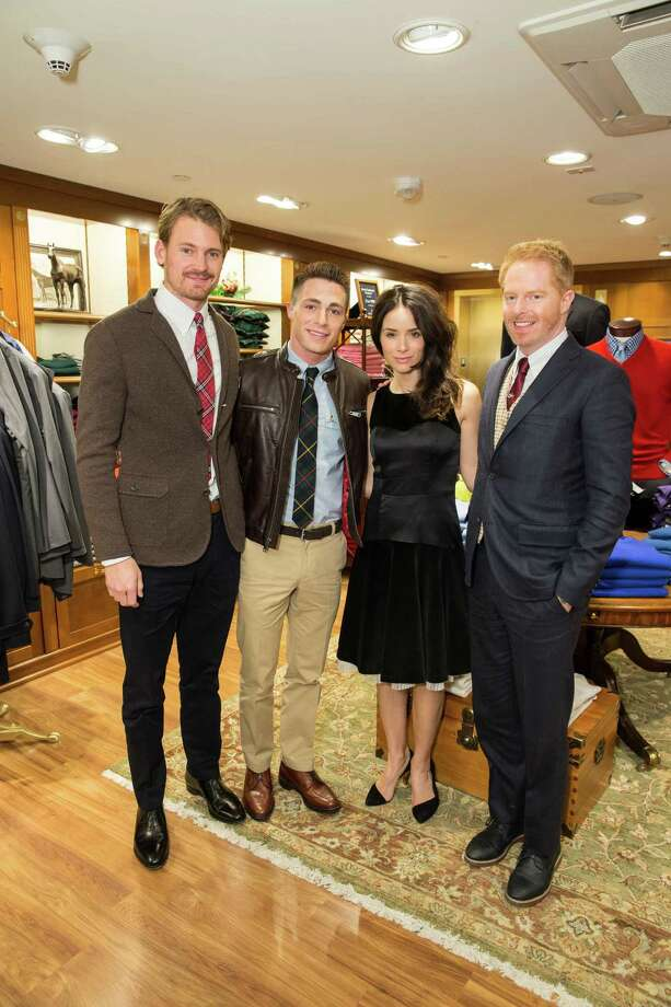 osh Pence, Colton Haynes, Abigail Spencer and Jesse Tyler Ferguson at Brooks Brothers' Holiday Celebration on December 10, 2013. Photo: Drew Altizer Photography/SFWIRE, Drew Altizer Photography / ©2013 by Drew Altizer, all rights reserved