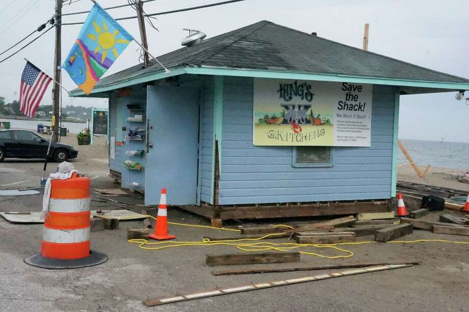 The concession stand back in June was being prepped for removal at Southport Beach after town officials threatened to demolish it. Since then, the shack has bounced among various locations in Fairfield and Westport --- and soon will be on the move again. Photo: Genevieve Reilly / Fairfield Citizen