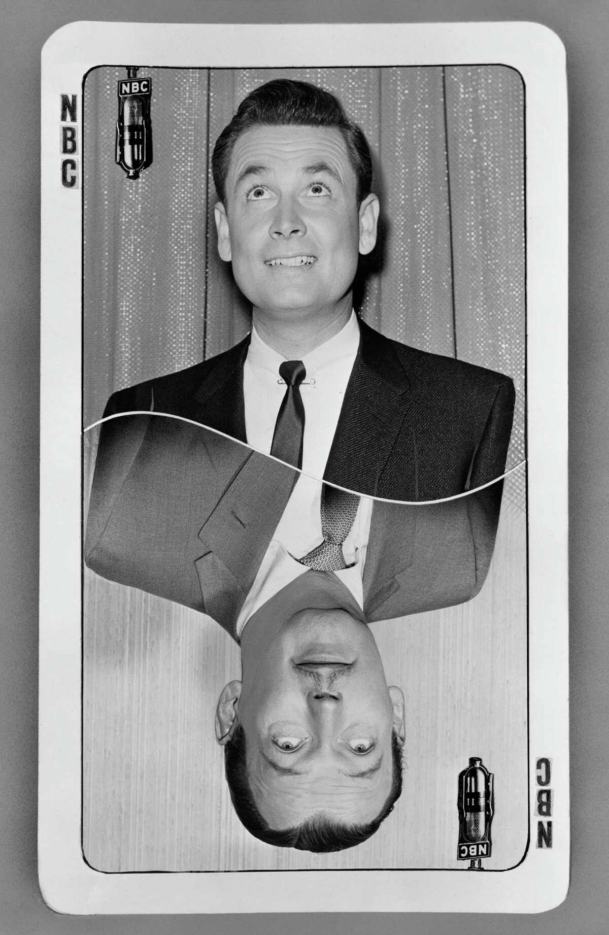 1956: Bob Barker and Jack Bailey, pictured on a promotional card.