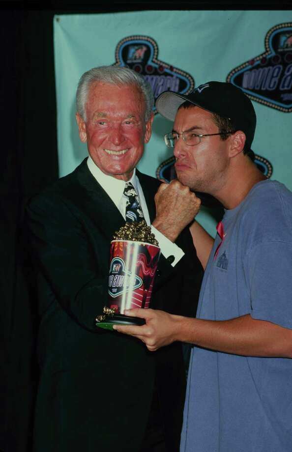 "1996: Bob Barker, pictured with ""Happy Gilmore"" co-star Adam Sandler. Photo: Time & Life Pictures, Getty Images / Time & Life Pictures"