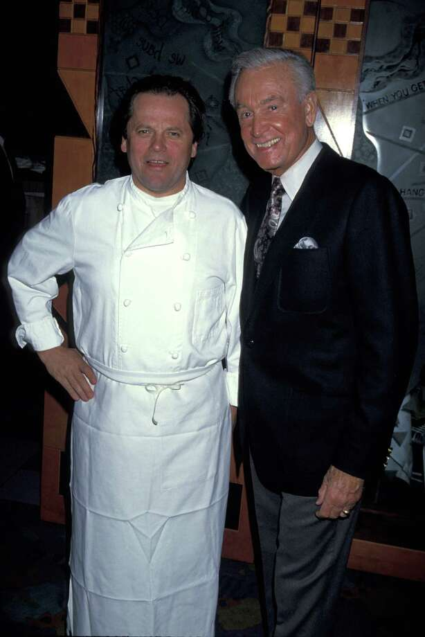 1994: Wolfgang Puck and Bob Barker during a book party at Spago's in West Hollywood. Photo: Jim Smeal, Getty Images / Ron Galella Collection