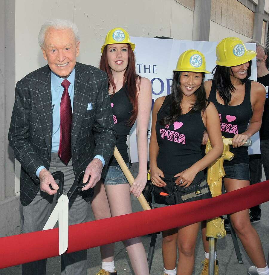 2010: Bob Barker and PETA models attend the dedication ceremony of PETA's the Bob Barker Building in Los Angeles. Photo: Dr. Billy Ingram, Getty Images / 2010 Dr. Billy Ingram