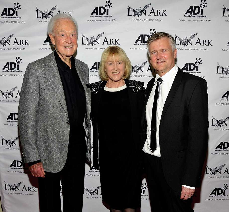 "2013: Bob Barker, writer/executive producer Jan Creamer and writer/director Tim Phillips attend the premiere of ""Lion Ark"" at the Charles Aidikoff Screening Room in Beverly Hills, Calif. Photo: John M. Heller, Getty Images / 2013 John M. Heller"