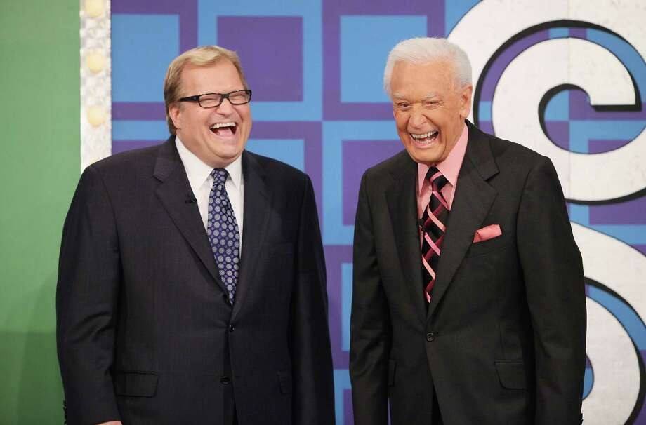 "2009: Drew Carey and Bob Barker pictured on ""The Price Is Right"" set. Photo: Michael Tran, Getty Images / 2009 Michael Tran"
