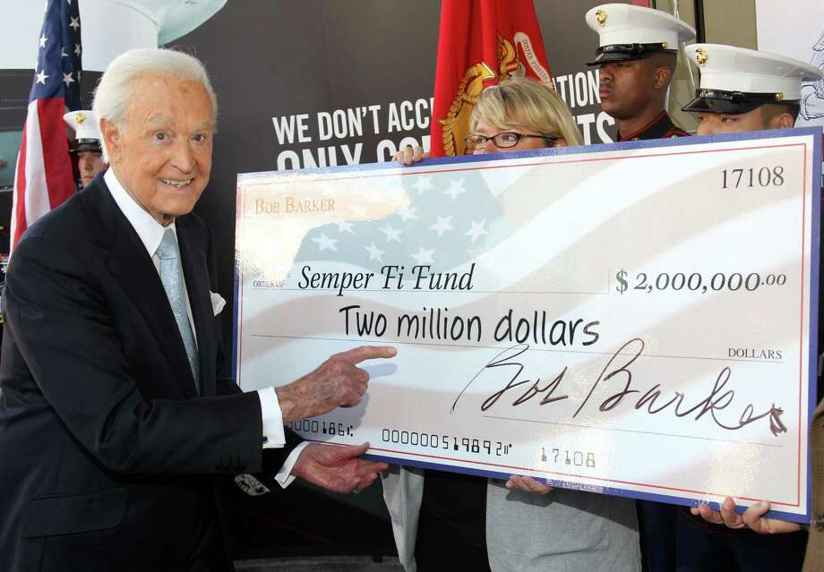 2011: Bob Barker, pictured donating $2 million to the Semper Fi Fund in Hollywood, Calif.  (Photo by Mathew Imaging/WireImage) Photo: Mathew Imaging, Getty Images / 2011 Mathew Imaging