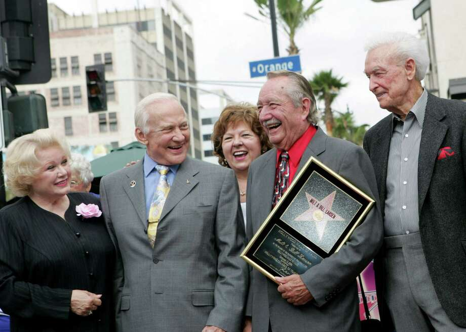 2006: Irene Larsen, Buzz Aldrin, Bill Larsen and Bob Barker, pictured in Hollywood, Calif. Photo: M. Phillips, Getty Images / WireImage