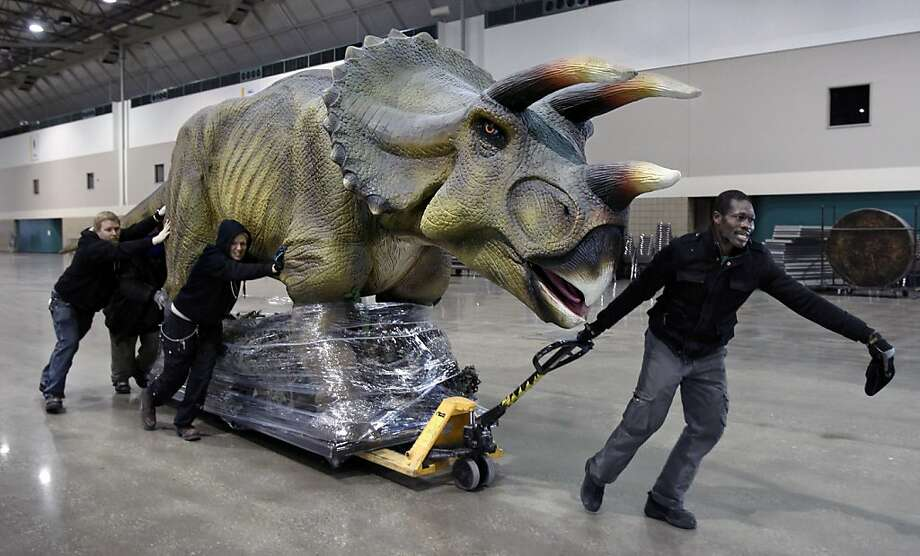 Bubblewrapasaurus: Before visitors can discover the dinosaurs at Bartle Hall's new Discover the Dinosaurs exhibit in Kansas 