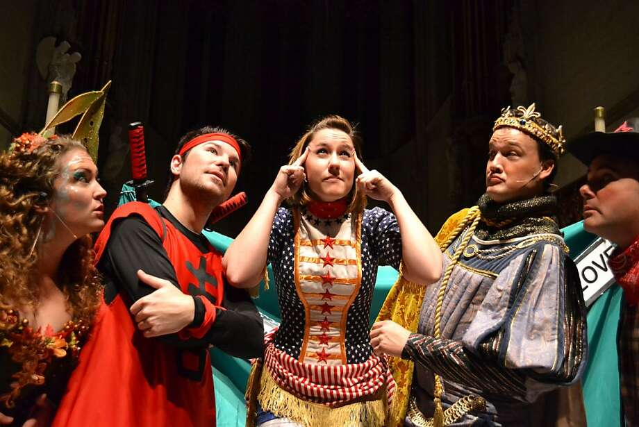 Members of Presto Interactive Opera play toys in St. Nicholas' workshop in a 45-minute show. Photo: Abby McKee