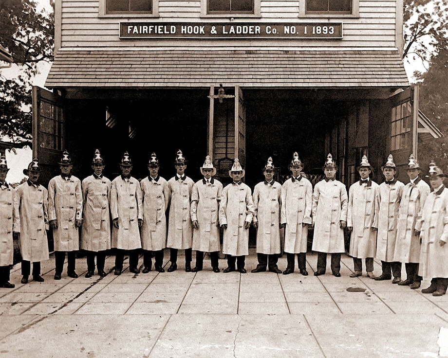 Through time-machine effect of Miggs Burrough's lenticular photography, this circa 1910 photo of Fairfield Hook & Ladder Co. on Reef Road morphs into the present-day Firehouse Deli as the viewer walks past the image. Pass it in the opposite direction and the Deli morphs back into the old firehouse. Photo: Contributed Photo / Fairfield Citizen contributed