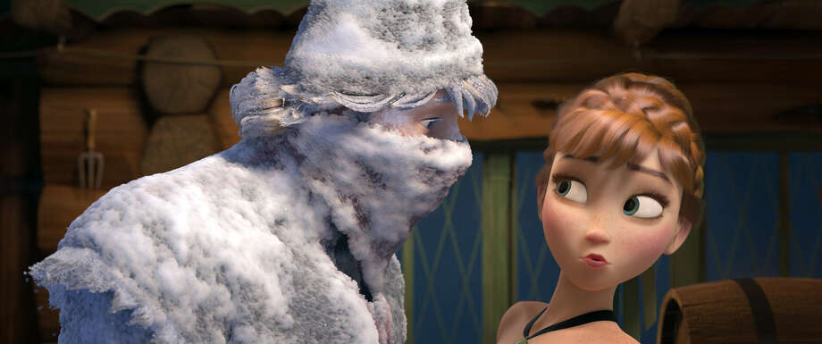"This image released by Disney shows Kristoff, voiced by Jonathan Groff, left, and Anna, voiced by Kristen Bell, in a scene from the animated feature ""Frozen."" The film was nominated for a Golden Globe for best animated film on Thursday, Dec. 12, 2013.  The 71st annual Golden Globes will air on Sunday, Jan. 12. (AP Photo/Disney) ORG XMIT: NYET724 Photo: Uncredited / Disney"