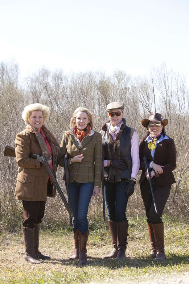 "Ann Brent, Claudia Craft, Alice Mosing and Victoria Polinski at the Museum of Fine Arts, Houston's annual ""The Fine Art of Shooting"" event, a sporting clays invitational, on March 2 at the Greater Houston Gun Club. Photo: Jenny Antill"
