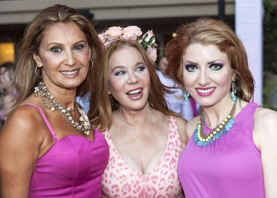"Varda Dror; Cindi Rose and Yasmine Haddad at the ""Party in Pink"" at the Hotel ZaZa on July 25. Photo: Craig Hartley, For The Chronicle"