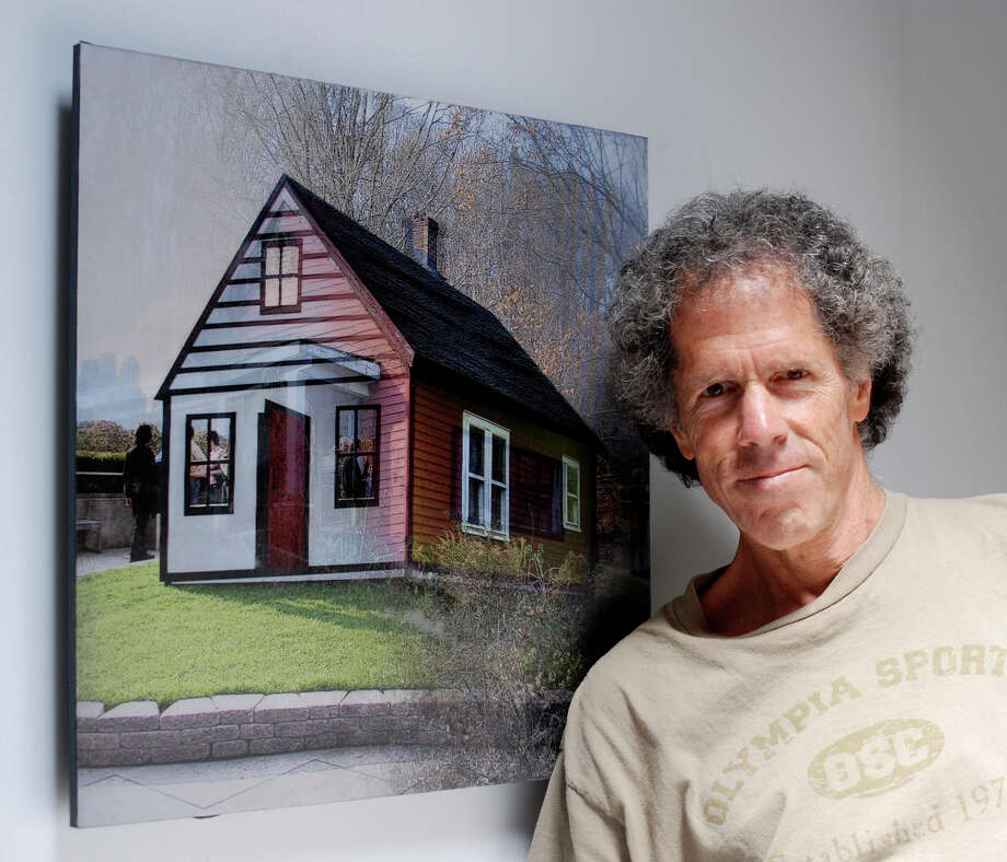"Miggs Burroughs's lenticular photography will be on exhibit at the Fairfield Museum from Thursday, Dec. 19, through Feb. 18. The process combines two images that, in person, fade into one another as a viewer walks by. Above is ""House"" that combines a Roy Lichtenstein painting with a Fairfield red shack. Photo: Contributed Photo / Connecticut Post Contributed"