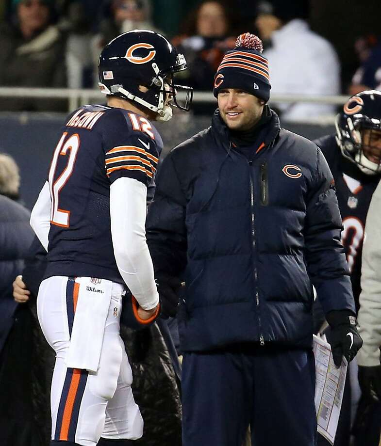Bears QB Jay Cutler (right) will trade his stocking cap for a helmet; Josh McCown (left) is No. 2 again. Photo: Brian Cassella, McClatchy-Tribune News Service