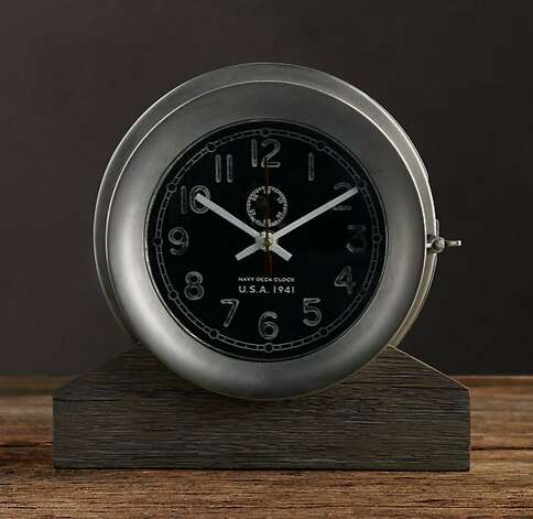 CLOCKS: For your favorite procrastinator, a replica of the U.S. Navy clocks that kept WWII bombing sorties taking off on time, $249, www.restorationhardware.com.