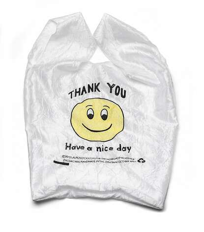 STOCKING STUFFERS: Have a nice day Smiley face Thank You bag usually found in plastic, redesigned by Lauren DiCioccio in fabric and made in San Francisco, $25, The Workshop Residence, www.theworkshopresidence.com. Photo: Russell Yip, The Chronicle