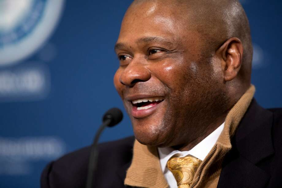 Mariners manager Lloyd  McClendon chats during a press conference welcoming new Mariners second baseman Robinson Cano Thursday, Dec. 12, 2013, at Safeco Field in Seattle. Cano is the biggest free-agent signing in the team's history. (Jordan Stead, seattlepi.com) Photo: JORDAN STEAD, SEATTLEPI.COM