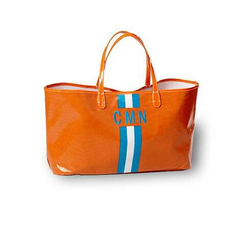STOCKING STUFFERS: The Wellie market tote, $50 with monogram an additional $15, www.clava.com, comes in orange and many other colors. Photo: Clava