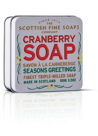 STOCKING STUFFERS: Tinned soaps, cranberry and mulled wine, from The Scottish Fine Soaps Company, $14 each, www.gumps.com. Photo: NapaStyle