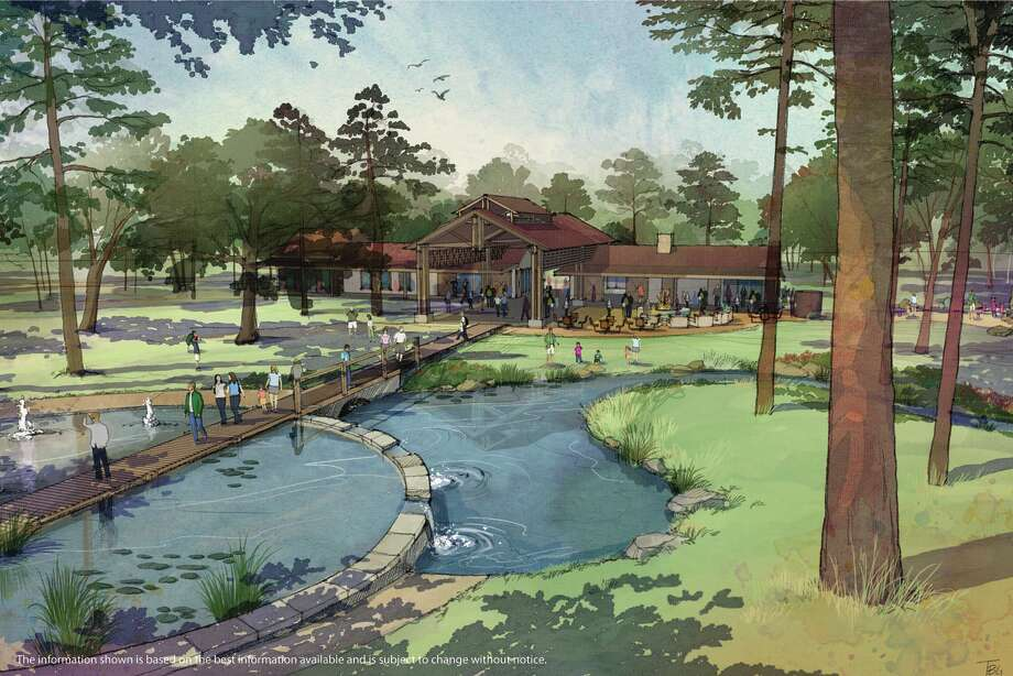 This rendering shows the visitors' center in The Groves, a 993-acre project being developed in northeast Houston.