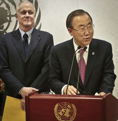 Lead inspector Ake Sellstrom (left) listens as U.N. Secretary-General Ban Ki-moon speaks after receiving the inspectors' report on Syrian weapons. Photo: Bebeto Matthews / Associated Press / AP