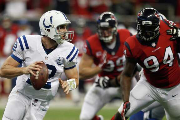 The Texans would like nothing better than to knock off Andrew Luck (12) and the Colts on Sunday at Indianapolis, where the Texans are 0-11.