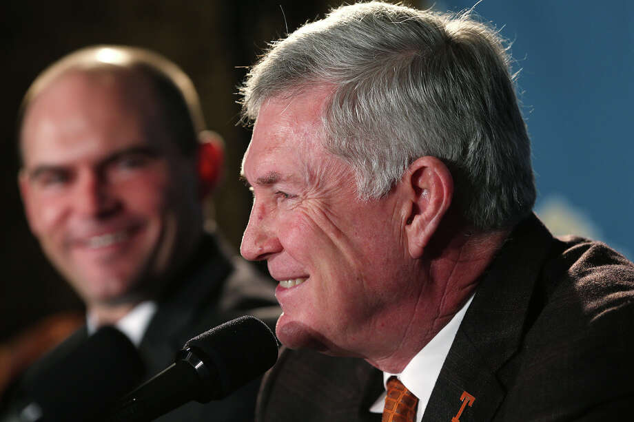 University of Texas head coach Mack Brown, right, and University of Oregon head coach Mark Helfrich attend a press conference for the 2013 Alamo Bowl at the Club at Sonterra, Thursday, Dec. 12, 2013. Photo: San Antonio Express-News / © 2013 San Antonio Express-News
