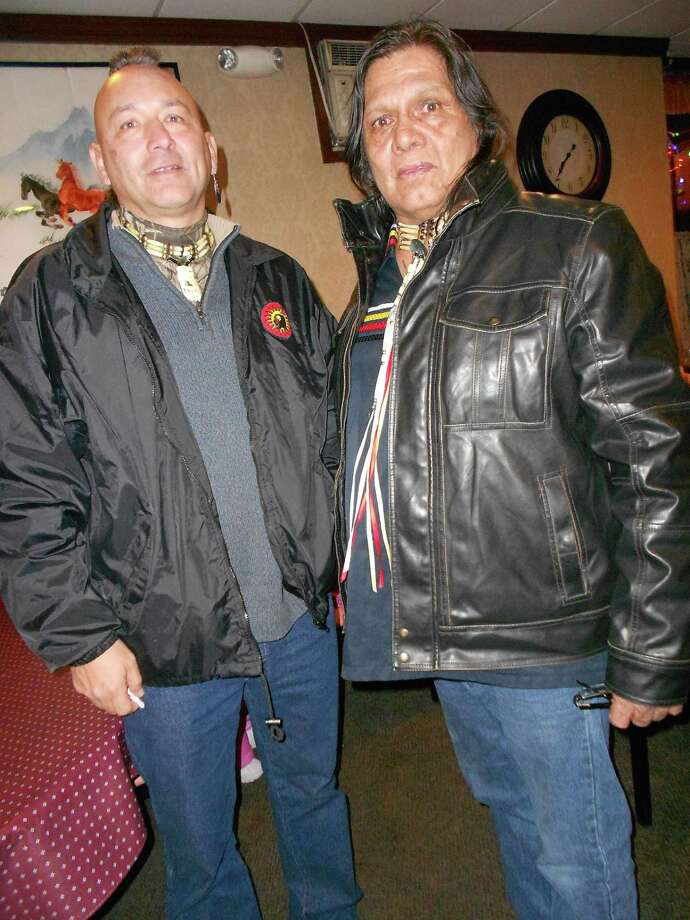 William Roger Jock, left, with Thomas Angus Square. They are members of the Men's Council of the Mohawk People of the Longhouse who were acquitted in U.S. District Court of running an illegal reservation casino. (Source: Men's Council)