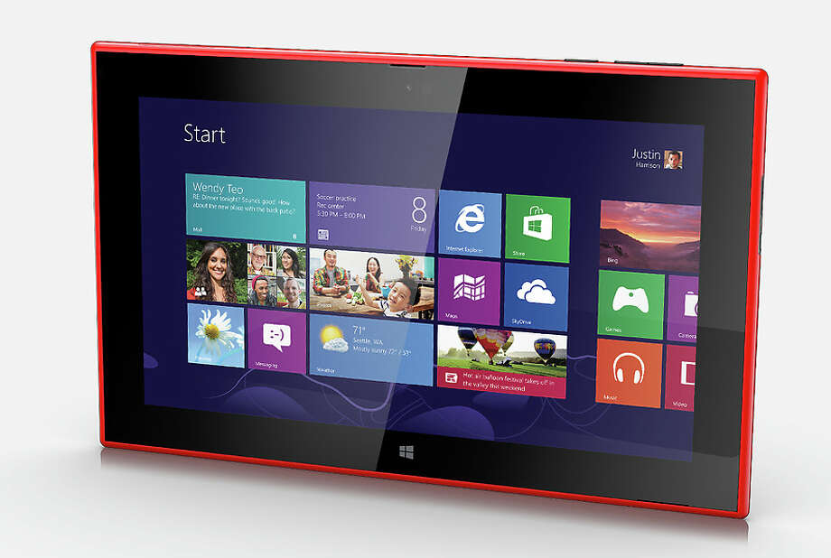 A newcomer to tablets is Nokia, traditionally a phone maker. Nokia's first-ever tablet, the Lumia 2520, has a brightly colored plastic back that helps it stand out in a crowd.
